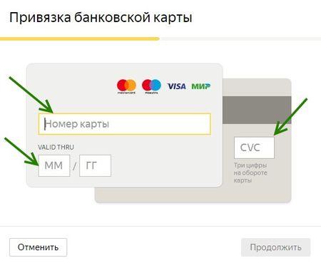 Кошелек Яндекс.Деньги указание данных карты